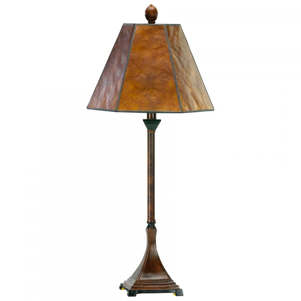 One Light Brown Mica Shade Table Lamp