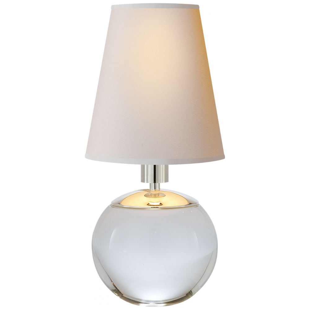 Terri Tiny Round Accent Lamp In Crystal With Nat