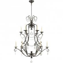 Visual Comfort CHC 1521AI-SG - Jumbo Orvieto Chandelier in Aged Iron with Seede