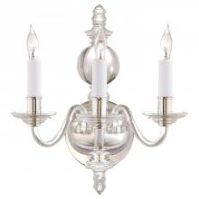 Visual Comfort CHD 1154CG/PN - George II Triple Sconce in Crystal with Polished