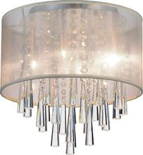 Crystal World 5519C13C (Beige) - 4 Light Drum Shade Flush Mount with Chrome finish