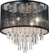 Crystal World 5519C13C (Black) - 4 Light Drum Shade Flush Mount with Chrome finish
