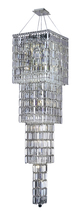 Elegant 2032G66C/RC - 2032 Maxime Collection Large Hanging Fixture L18in W18in  H66in Lt:18 Chrome Finish (Royal Cut Cryst